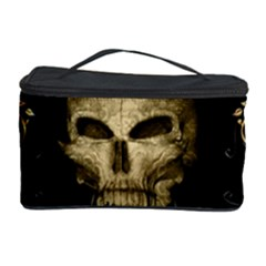 Golden Skull With Crow And Floral Elements Cosmetic Storage Case by FantasyWorld7