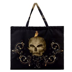 Golden Skull With Crow And Floral Elements Zipper Large Tote Bag by FantasyWorld7