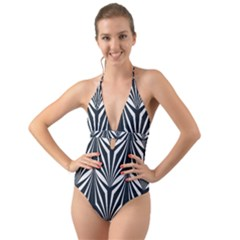 Art Deco, Black,white,graphic Design,vintage,elegant,chic Halter Cut Out One Piece Swimsuit