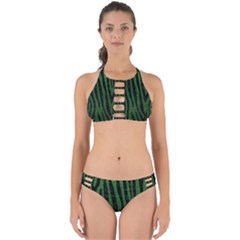 Skin4 Black Marble & Green Leather Perfectly Cut Out Bikini Set