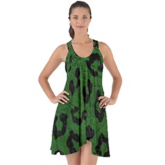 Skin5 Black Marble & Green Leather Show Some Back Chiffon Dress by trendistuff
