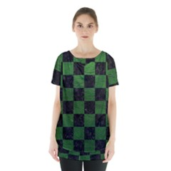 Square1 Black Marble & Green Leather Skirt Hem Sports Top by trendistuff