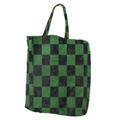 Square1 Black Marble & Green Leather Giant Grocery Zipper Tote