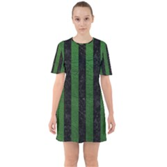 Stripes1 Black Marble & Green Leather Sixties Short Sleeve Mini Dress