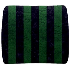 Stripes1 Black Marble & Green Leather Back Support Cushion by trendistuff