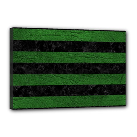 Stripes2 Black Marble & Green Leather Canvas 18  X 12  by trendistuff