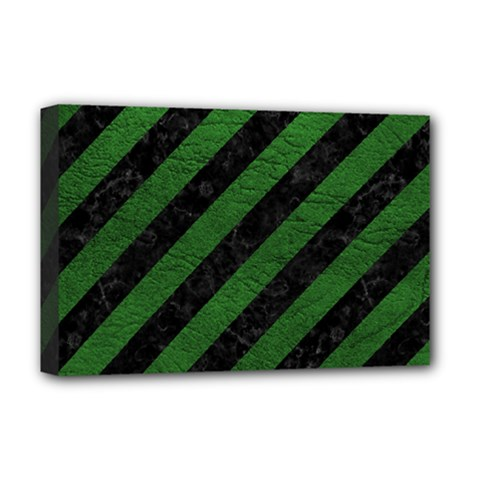 Stripes3 Black Marble & Green Leather Deluxe Canvas 18  X 12   by trendistuff