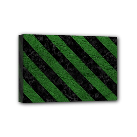 Stripes3 Black Marble & Green Leather (r) Mini Canvas 6  X 4  by trendistuff