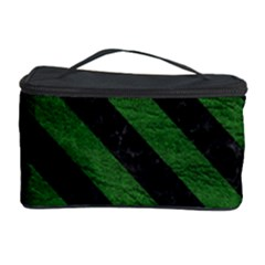 Stripes3 Black Marble & Green Leather (r) Cosmetic Storage Case