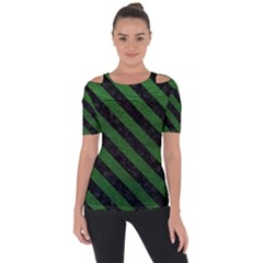 Stripes3 Black Marble & Green Leather (r) Short Sleeve Top
