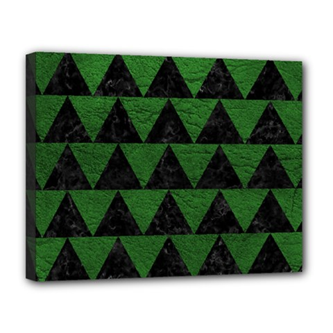 Triangle2 Black Marble & Green Leather Canvas 14  X 11  by trendistuff