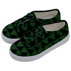 Triangle2 Black Marble & Green Leather Kids  Classic Low Top Sneakers by trendistuff