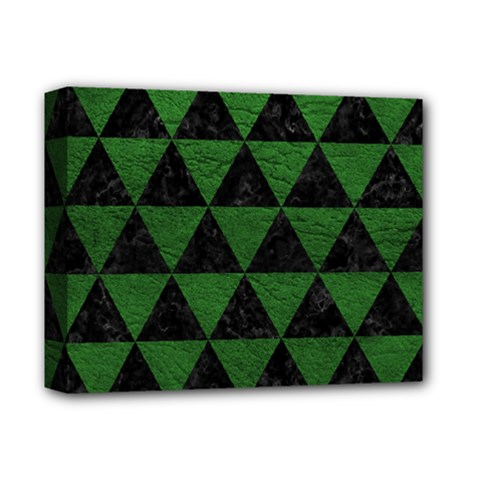 Triangle3 Black Marble & Green Leather Deluxe Canvas 14  X 11  by trendistuff
