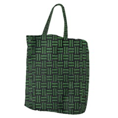 Woven1 Black Marble & Green Leather Giant Grocery Zipper Tote