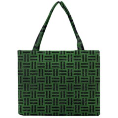 Woven1 Black Marble & Green Leather (r) Mini Tote Bag by trendistuff