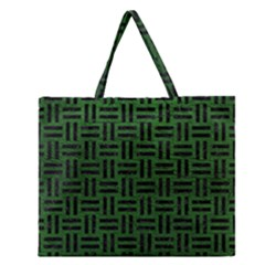 Woven1 Black Marble & Green Leather (r) Zipper Large Tote Bag by trendistuff