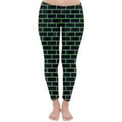 Brick1 Black Marble & Green Watercolor Classic Winter Leggings by trendistuff