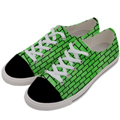 Brick1 Black Marble & Green Watercolor (r) Women s Low Top Canvas Sneakers by trendistuff