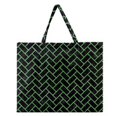 Brick2 Black Marble & Green Watercolor Zipper Large Tote Bag by trendistuff