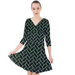 Brick2 Black Marble & Green Watercolor Quarter Sleeve Front Wrap Dress