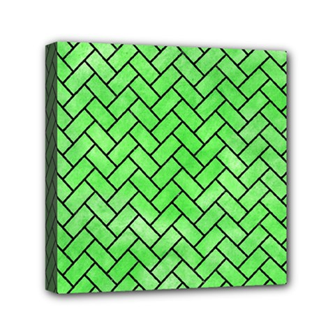 Brick2 Black Marble & Green Watercolor (r) Mini Canvas 6  X 6  by trendistuff