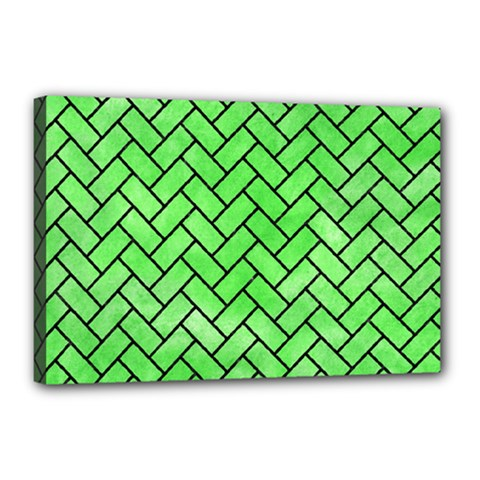 Brick2 Black Marble & Green Watercolor (r) Canvas 18  X 12  by trendistuff