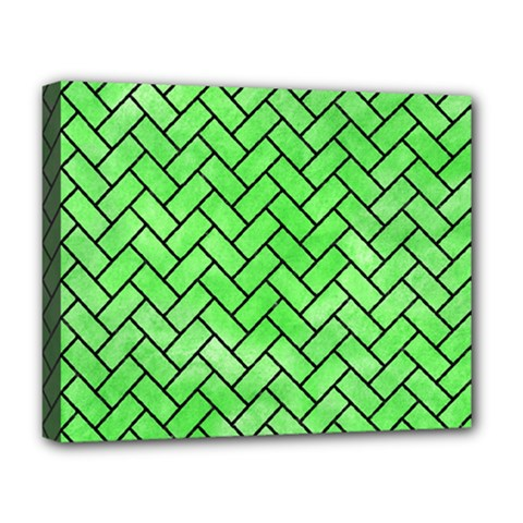Brick2 Black Marble & Green Watercolor (r) Deluxe Canvas 20  X 16   by trendistuff