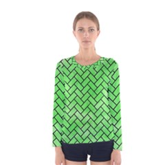Brick2 Black Marble & Green Watercolor (r) Women s Long Sleeve Tee
