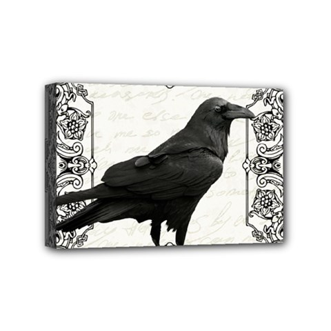 Vintage Halloween Raven Mini Canvas 6  X 4  by Valentinaart