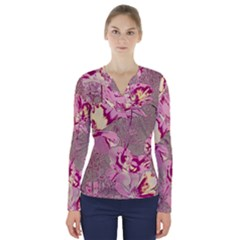 Amazing Glowing Flowers 2b V Neck Long Sleeve Top