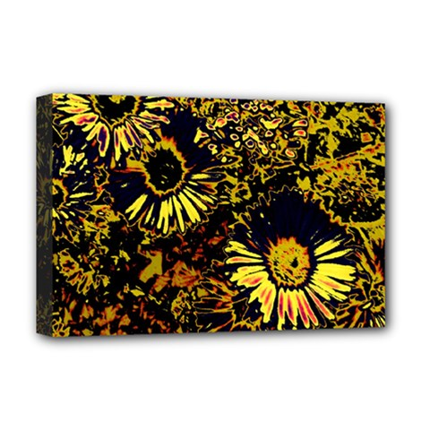 Amazing Neon Flowers B Deluxe Canvas 18  X 12   by MoreColorsinLife