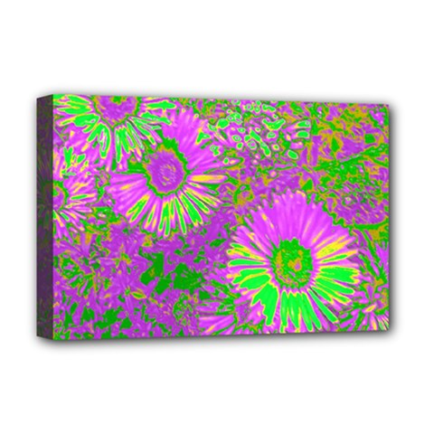 Amazing Neon Flowers A Deluxe Canvas 18  X 12   by MoreColorsinLife