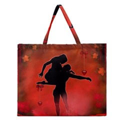 Dancing Couple On Red Background With Flowers And Hearts Zipper Large Tote Bag by FantasyWorld7