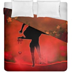 Dancing Couple On Red Background With Flowers And Hearts Duvet Cover Double Side (king Size) by FantasyWorld7