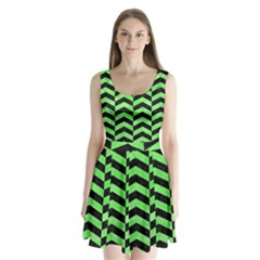Chevron2 Black Marble & Green Watercolor Split Back Mini Dress