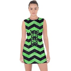 Chevron3 Black Marble & Green Watercolor Lace Up Front Bodycon Dress