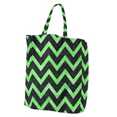 Chevron9 Black Marble & Green Watercolor Giant Grocery Zipper Tote