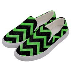 Chevron9 Black Marble & Green Watercolor Men s Canvas Slip Ons by trendistuff