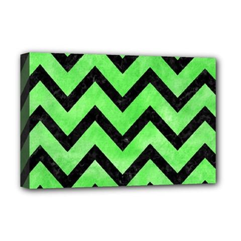 Chevron9 Black Marble & Green Watercolor (r) Deluxe Canvas 18  X 12   by trendistuff