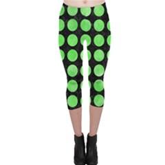 Circles1 Black Marble & Green Watercolor Capri Leggings  by trendistuff