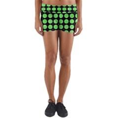 Circles1 Black Marble & Green Watercolor Yoga Shorts by trendistuff