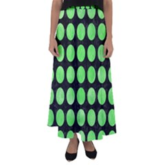 Circles1 Black Marble & Green Watercolor Flared Maxi Skirt