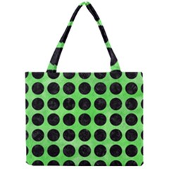Circles1 Black Marble & Green Watercolor (r) Mini Tote Bag by trendistuff