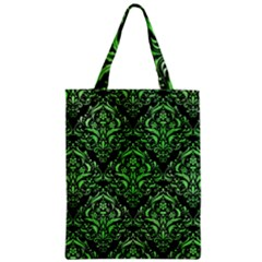 Damask1 Black Marble & Green Watercolor Zipper Classic Tote Bag by trendistuff