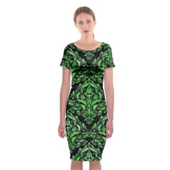 Damask1 Black Marble & Green Watercolor Classic Short Sleeve Midi Dress by trendistuff