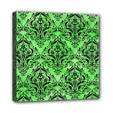 Damask1 Black Marble & Green Watercolor (r) Mini Canvas 8  X 8  by trendistuff