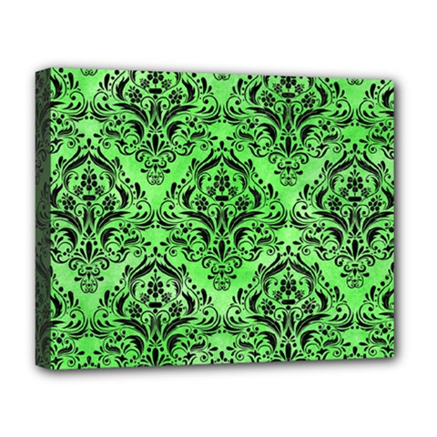 Damask1 Black Marble & Green Watercolor (r) Deluxe Canvas 20  X 16   by trendistuff