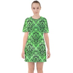 Damask1 Black Marble & Green Watercolor (r) Sixties Short Sleeve Mini Dress