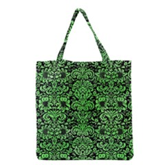 Damask2 Black Marble & Green Watercolor Grocery Tote Bag