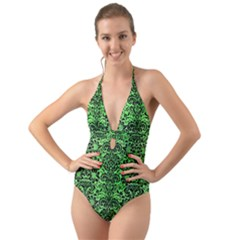 Damask2 Black Marble & Green Watercolor (r) Halter Cut Out One Piece Swimsuit
